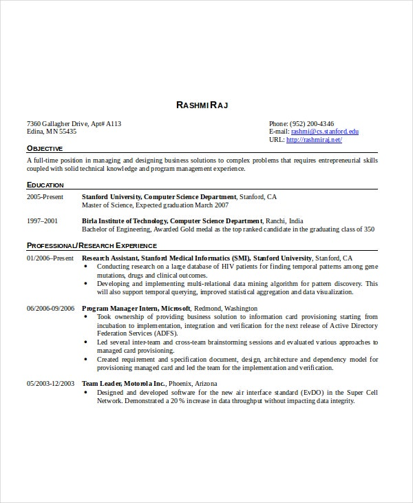 computer Science DepartmentResume