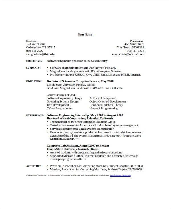 computer science internship resume template - Resume Of A Science Student
