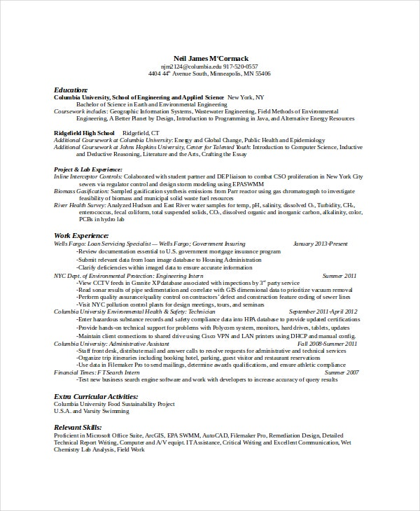 Computer Science Education Resume