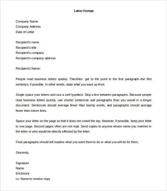 Letter Format Word Formal Letter Template  30 Free Word Pdf Documents Download .