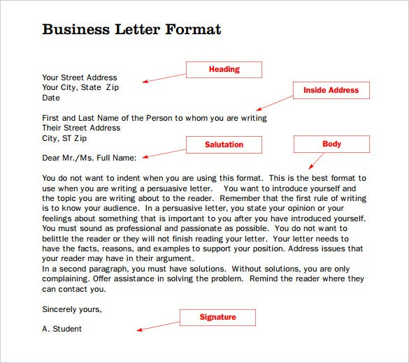 formal letter word template