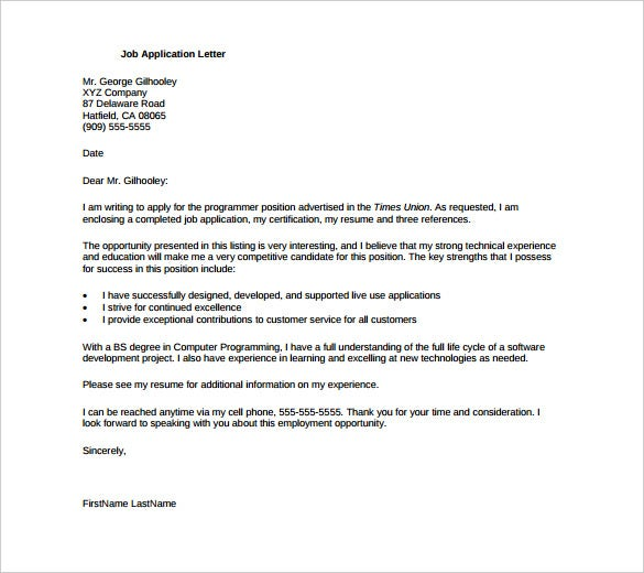 Job Application Letter Template Download
