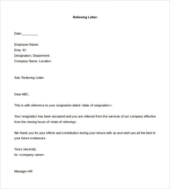 94 Relieving Letter Format In Word Free Download  In