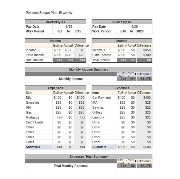 Personal Budget Template   Free Word Excel  Documents
