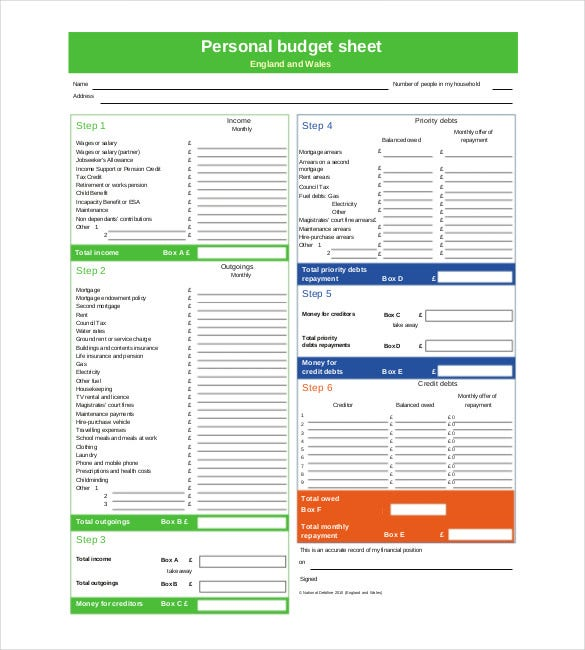 Personal Budget Template 10 Free Word Excel Pdf Documents