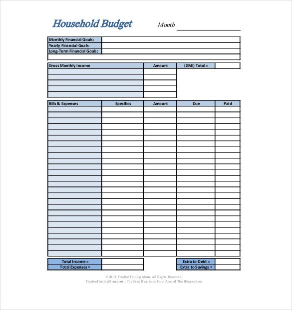 Home Budget Worksheet. Household Budget Reminder: Freebie - Free ...
