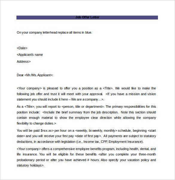 Offer Letter Template 9 Free Word PDF Documents Download – Offer Letter