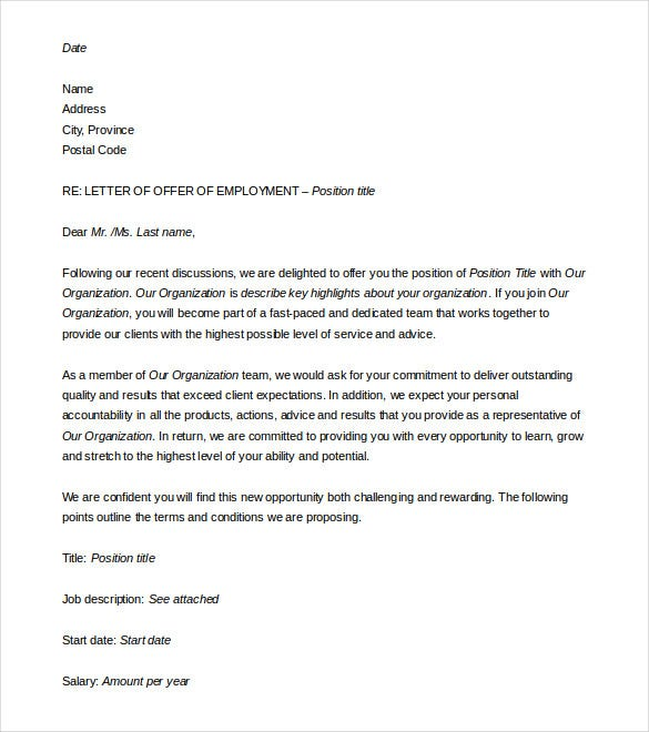 Job Offer Letter Template Word Geccetackletartsco - Offer of employment letter template free