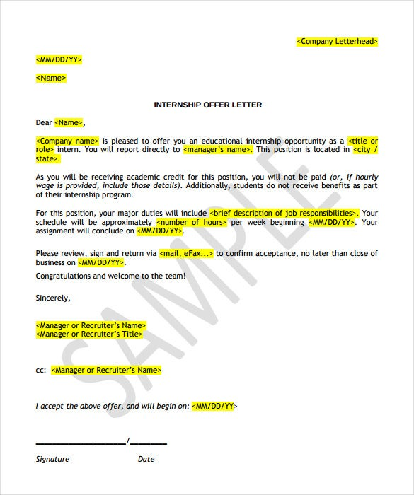 internship offer letter templatepdf download