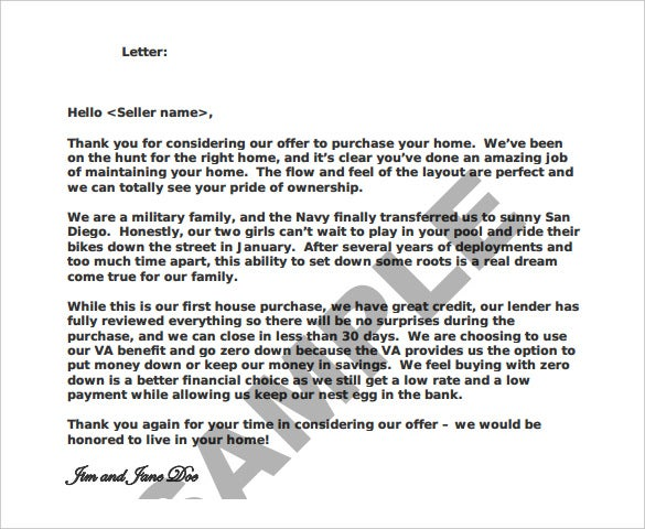 printable home offer lletter template download