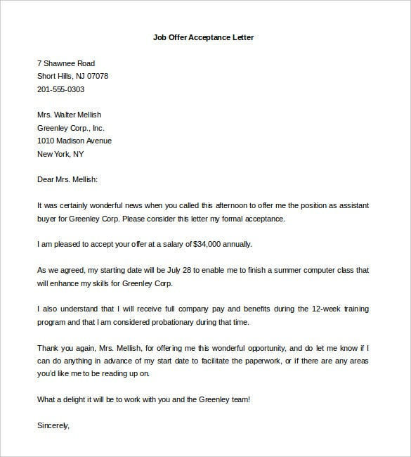 Offer letter template 13 free word pdf documents download free download accepting offer letter of job word format spiritdancerdesigns Image collections