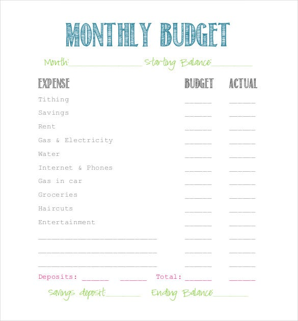 free simple budget template printable