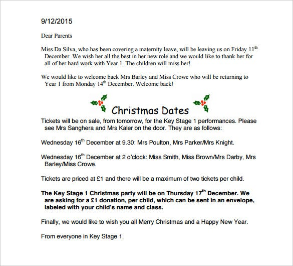 christmas letter to yew tree primary school download
