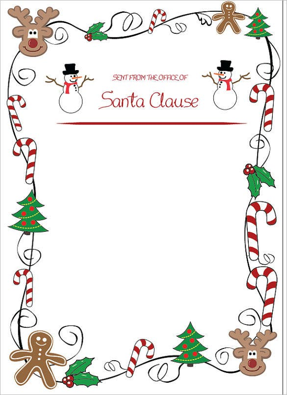 Blank Christmas Letter To Santa Template Download  Free Word Christmas Templates