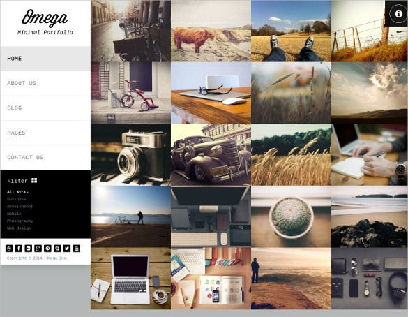 full screen photographers minimal wordpress template