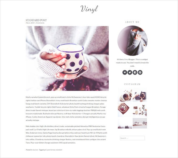 minimal blog worpress template
