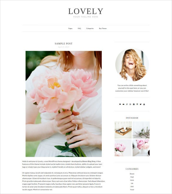 lovely responsive minimal wordpress theme