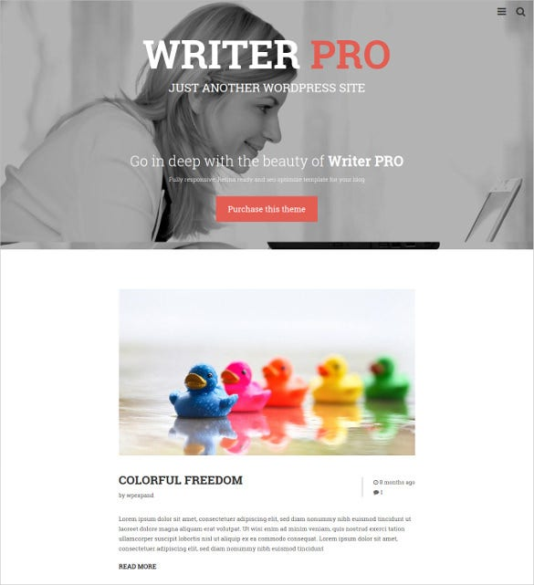 writerpro minimal blog wordpress theme