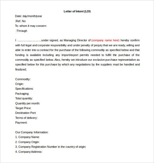 letter of intent word template