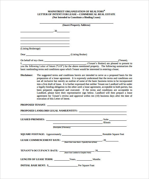 download letter of intent to lease commercial retail space