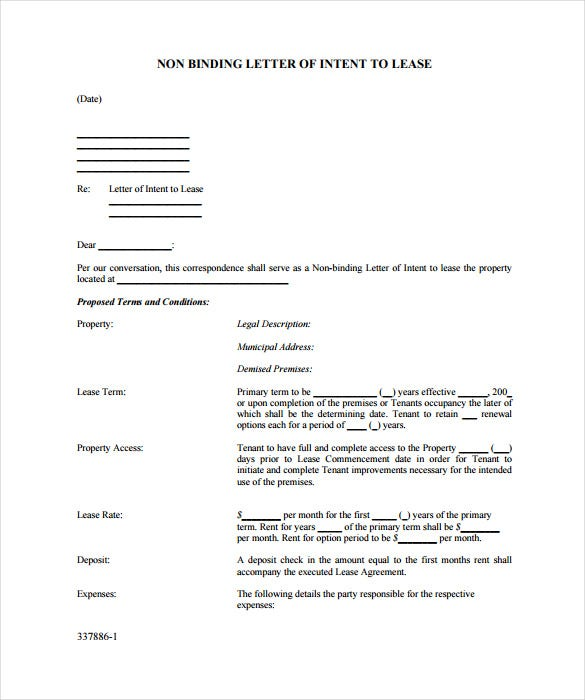 non binding letter of intent to lease free pdf