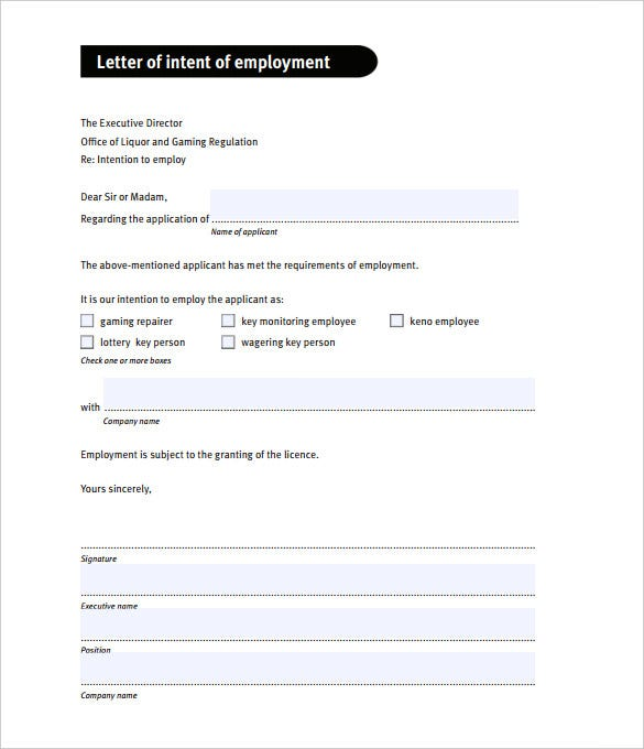 letter of intent for employment pdf format download