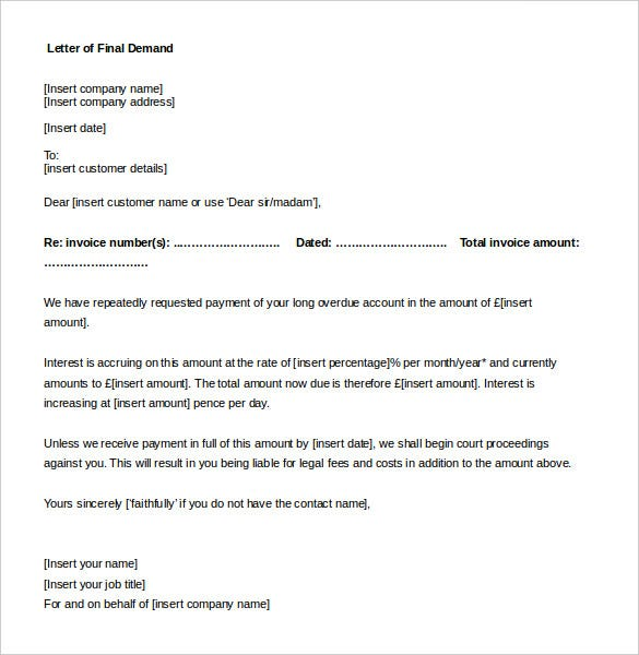 Demand Letter Template – 10+ Free Word, PDF Documents Download ...