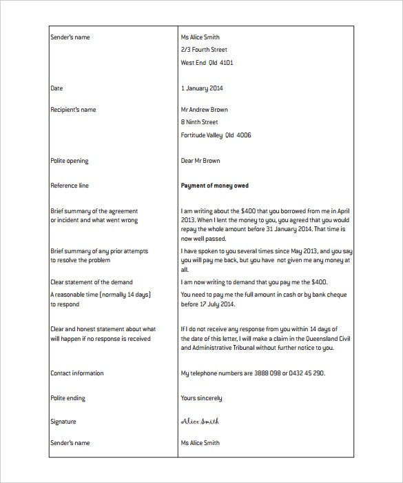 legal demand letter template pdf format download