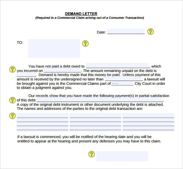 free demand letter for money owed pdf format