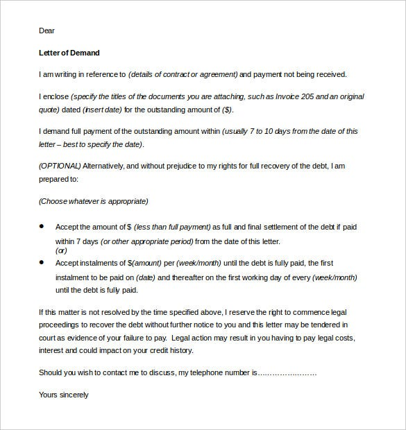 10 Day Demand Letter Template MS Word Printable