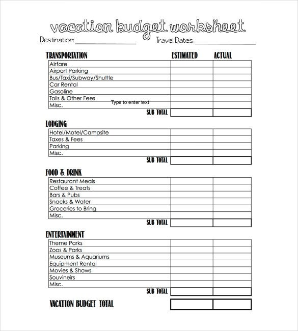 vacation budget template pdf download