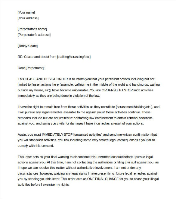 Cease and desist letter template 8 free word pdf documents cease and desist letter harassment word format spiritdancerdesigns