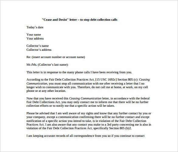 Cease And Desist Debt Collector Letter Template  Letter Template