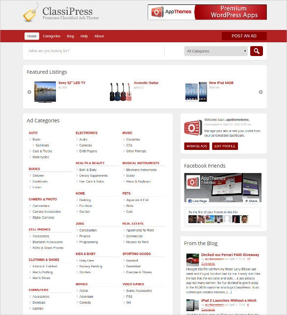 popular wordpress classified ads theme