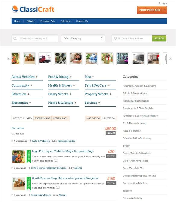 premium wordpress classified listing theme