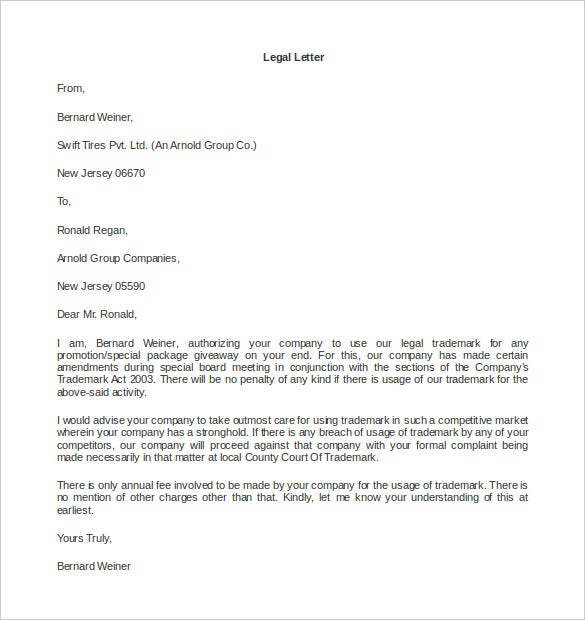Legal Letter Templates   Free Word Pdf Documents Download