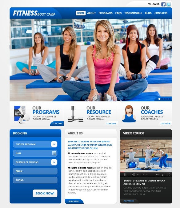 beautiful fitness wordpress template