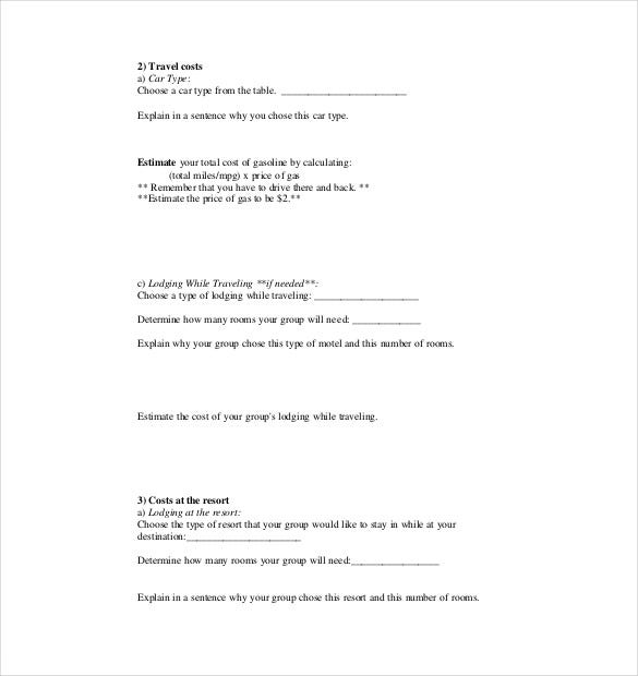 vacation budget activity plan template pdf download
