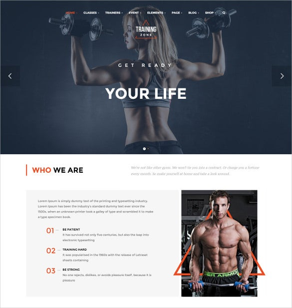 training zone fitness wordpress theme