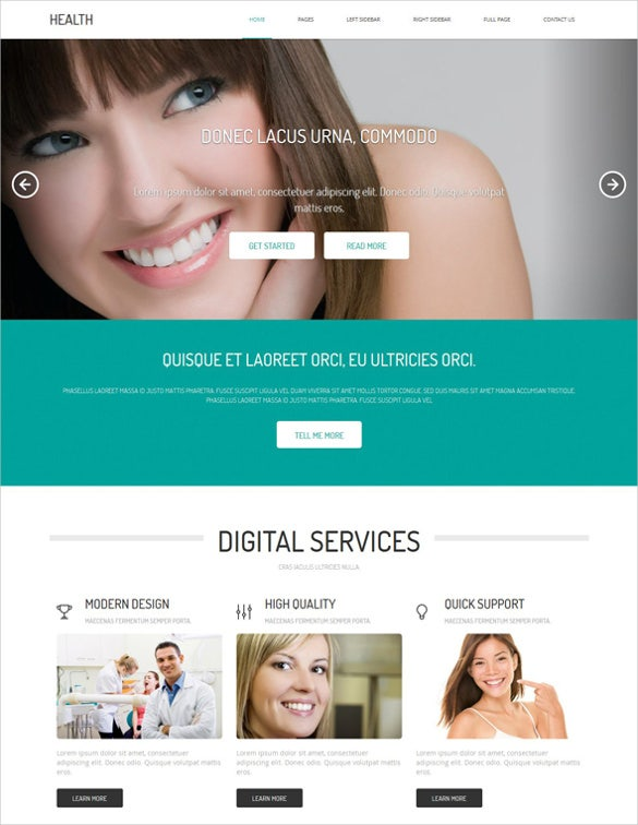 free premium responsive dental website theme