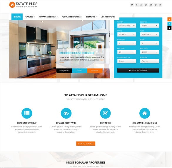 real estate html5 website template