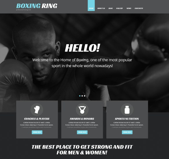 boxing responsive wordpress template