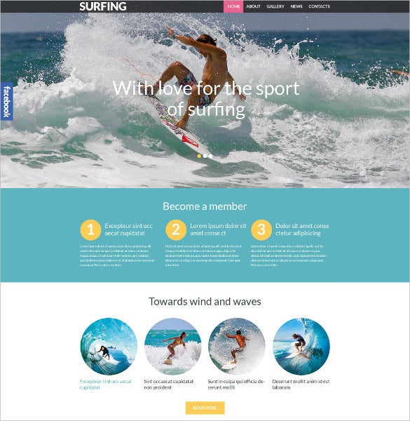 surfing responsive sports wordpress theme