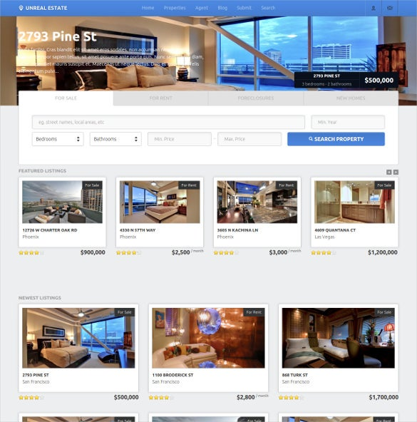 unreal estate real estate website theme