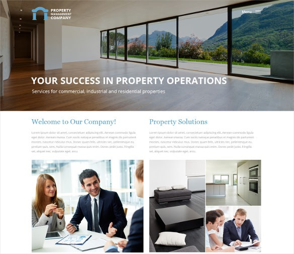 property management responsive website template