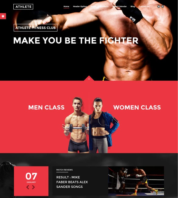 gym sports wordpress template