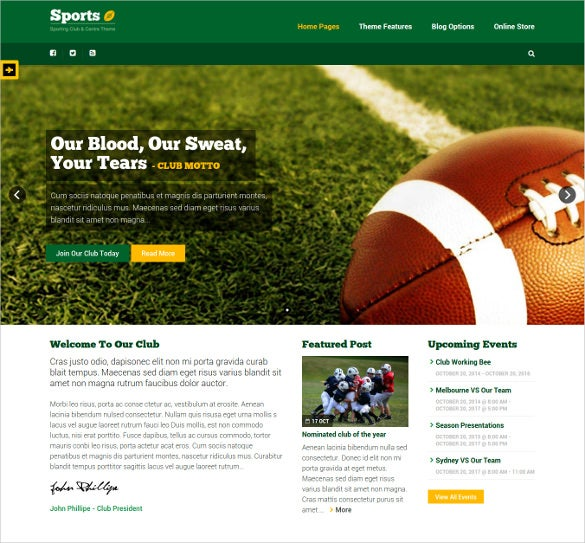 premium sporting wordpress club theme