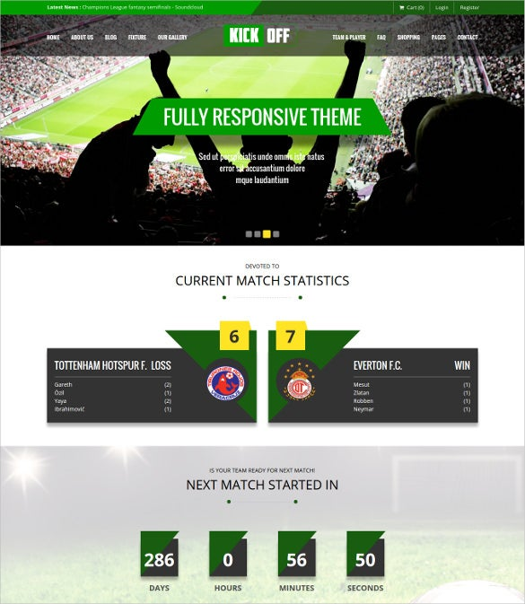 fully responsive football club wordpress template