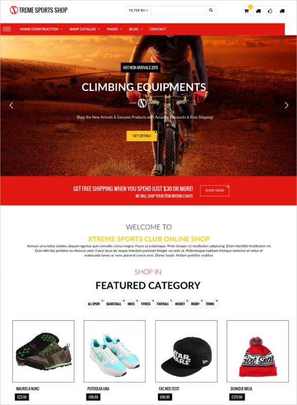 sports store wordpress club theme