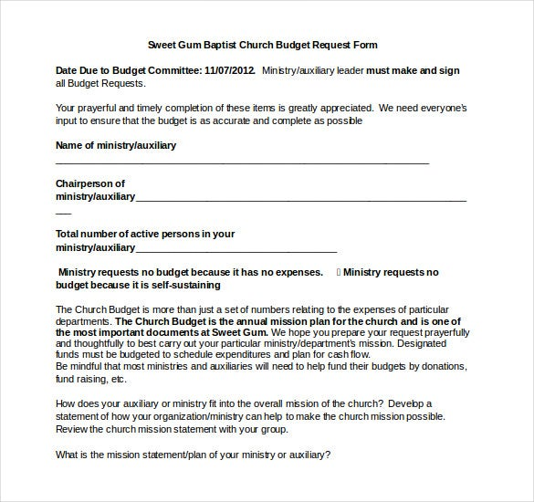baptist church budget template word form